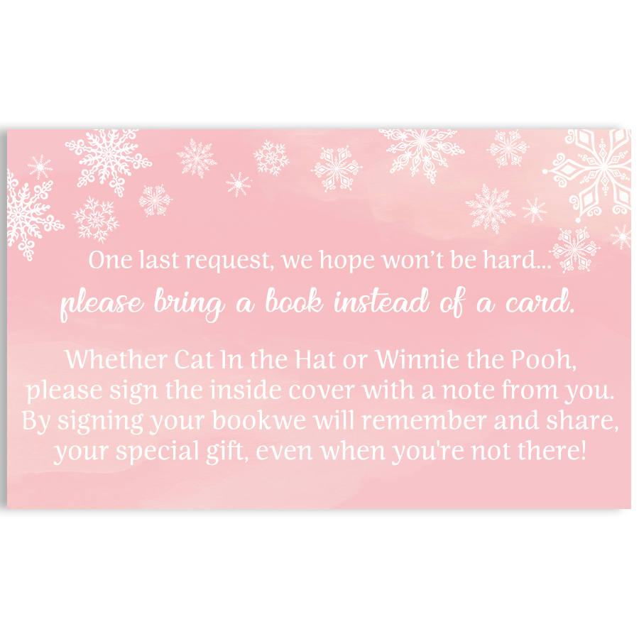 Winter Wonderland Pink Baby Shower Book Insert