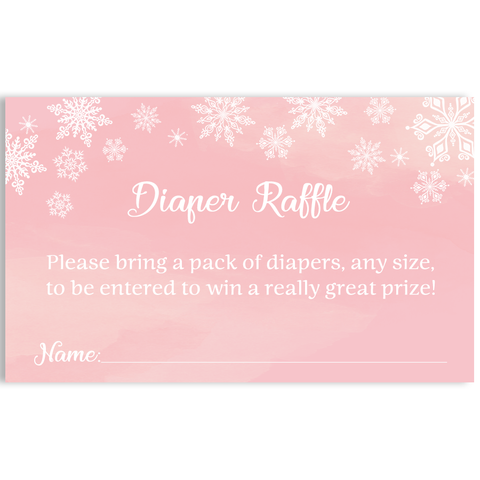 Winter Wonderland Pink Baby Shower Diaper Raffle Ticket