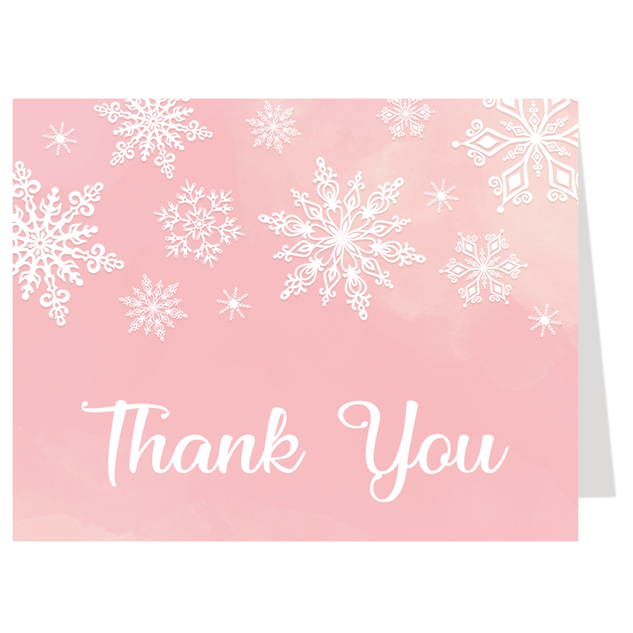 Winter Wonderland Pink Thank You Card