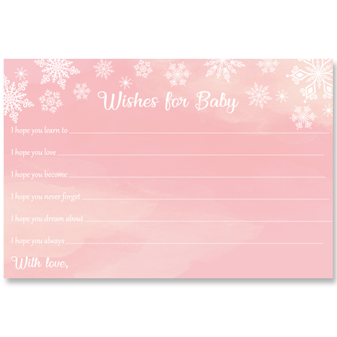 Winter Wonderland Pink Baby Shower Wishes Card