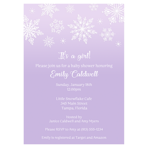 Winter Wonderland Purple Baby Shower Invitation