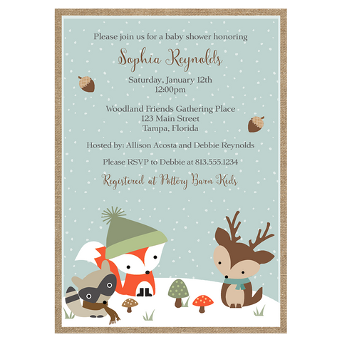 Winter Woodland Friends Baby Shower Invitation