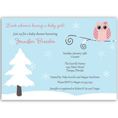Winter is a Hoot Pink Baby Shower Invitation