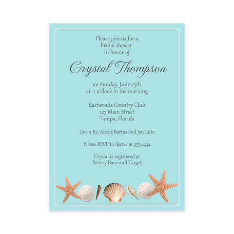 Beach Shells Bridal Shower Invitation