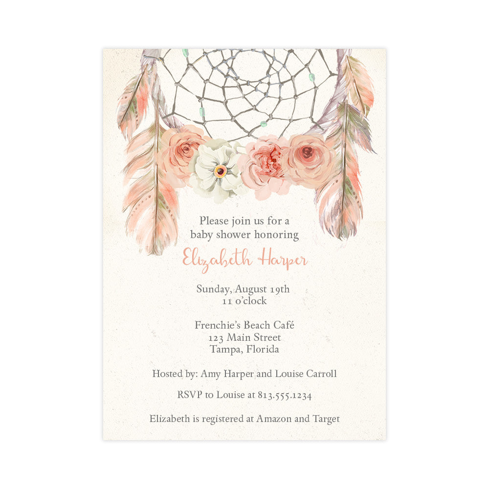 Bohemian Dream Catcher, Pink, Baby Shower Invitation