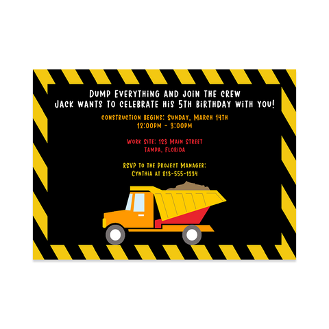 Dump Everything Birthday Party Invitation
