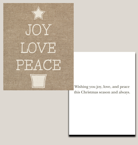 Joy Love and Peace Christmas Cards Burlap Holiday Greeting Cards Religious Religion Tan Reason For The Season (24 pack)
