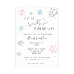 Little Snowflake Baby Shower Invitation, Pink and Blue