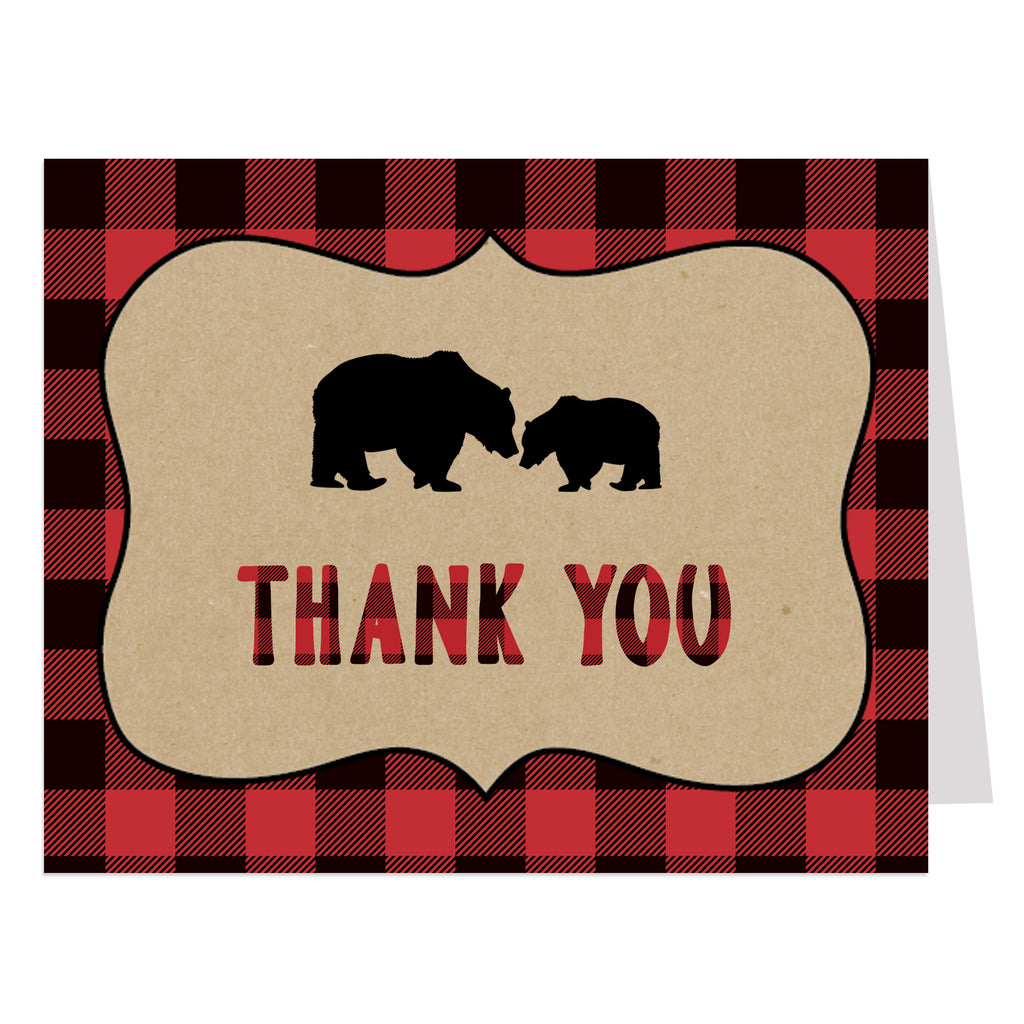 LUMBERJACK BABY SHOWER Red THANK YOU CARDS