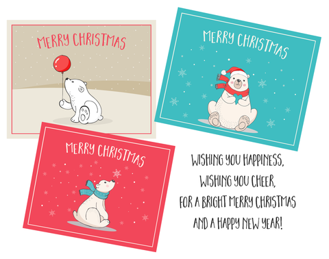 Polar Bear Christmas Card Assorted Holiday Cards