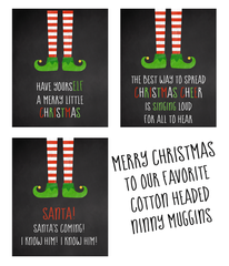 ELF Christmas Cards Chalkboard Holiday Greeting Cards Funny Hilarious Unique Cards (24 count)