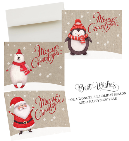 Assorted Christmas Cards Burlap Design Whimsical North Pole Penguins Santa Polar Bear Snow Snowy Fun Holiday Greeting Card (24 pack)