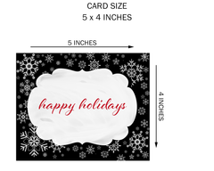 Happy Holidays Christmas Card Holiday Greeting Cards Traditional Nondeonnminational Red Black Snowflakes Snow Snowy Elegant Simple New Years Xmas Coexist Snowfall (24 count)