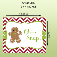 Gingerbread Man Christmas Cards Oh Snap Ginger Bread Men Red Green Polka Dots Chevron Stripes Holiday Greeting Cards Secular Fun Tradition (24 count)