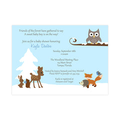 Winter Forest Friends Blue Baby Shower Invitation