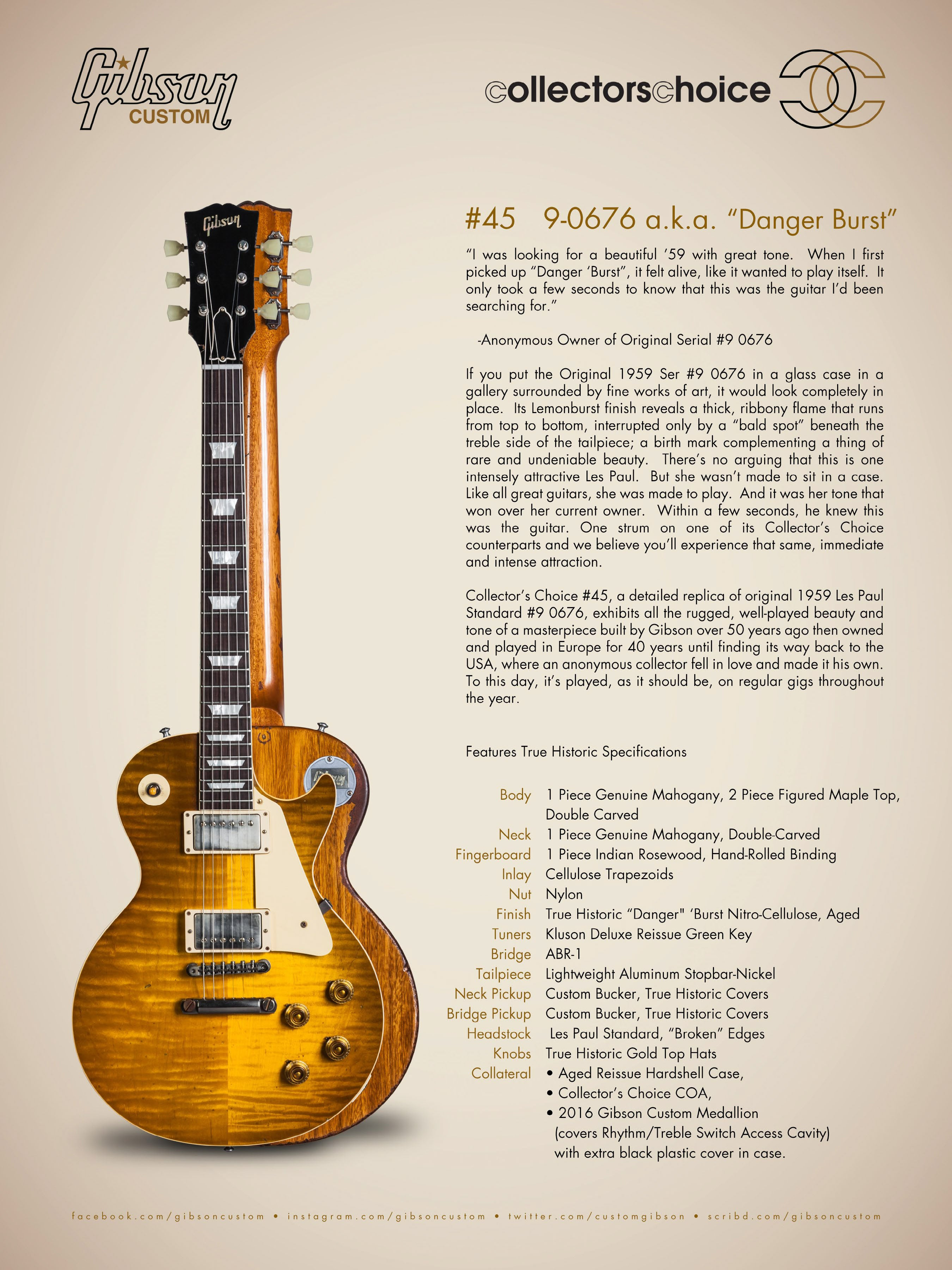 "Gibson Custom Shop Collector's Choice #45 ""Danger Burst"" 