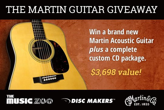 Free Giveaway: Enter for Free to Win a Martin Guitar and Disc Makers Package!