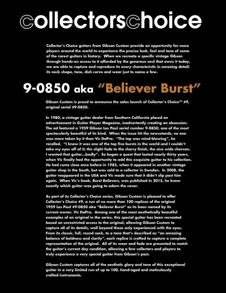 Gibson Collectors Choice Believer Burst Description