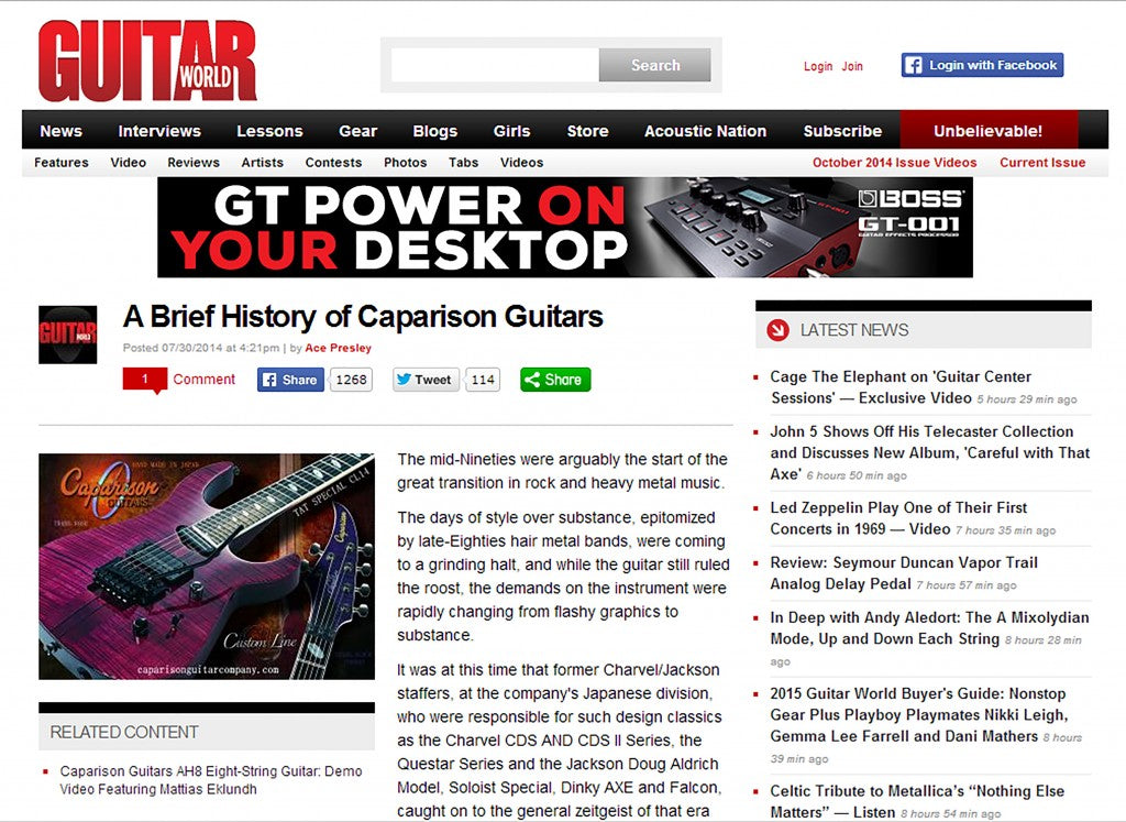 Guitar World Inside Look At The History Of Caparison Guitars