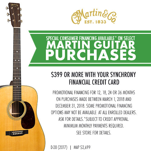 Finance a Martin Acoustic Guitar at 0% Interest for Up To 36 Months with a Synchrony Credit Card