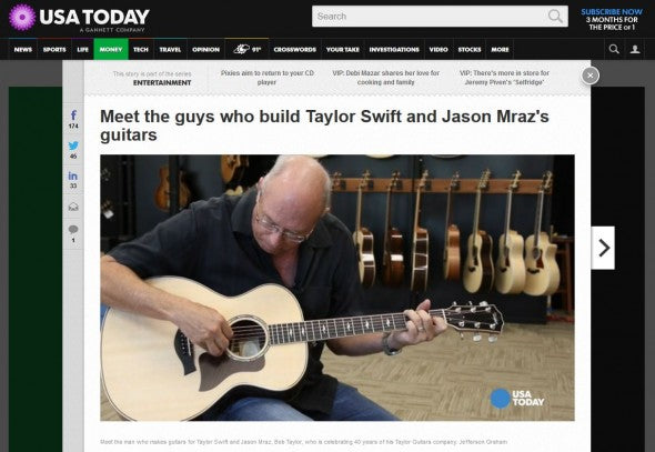 Taylor Guitars Featured In USA Today Online | The Music Zoo