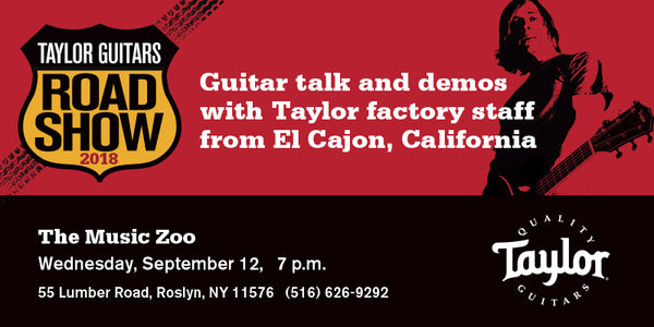 Taylor Guitars Road Show - Wednesday September 12 at The Music Zoo!