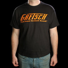 "Gretsch ""Great Gretsch Sound"" T-Shirt Short Sleeve Shirt Black/Orange"