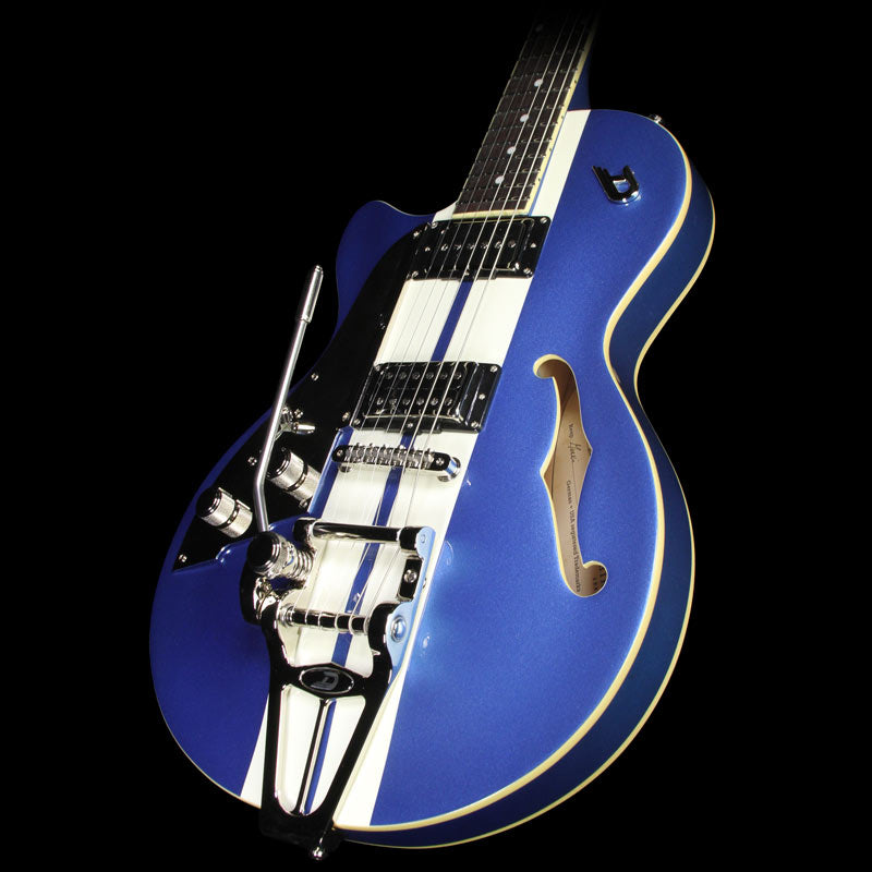 Used 2016 Duesenberg Mike Cambell Starplayer TV Left-Handed Electric Guitar Lake Placid Blue with White Stripes