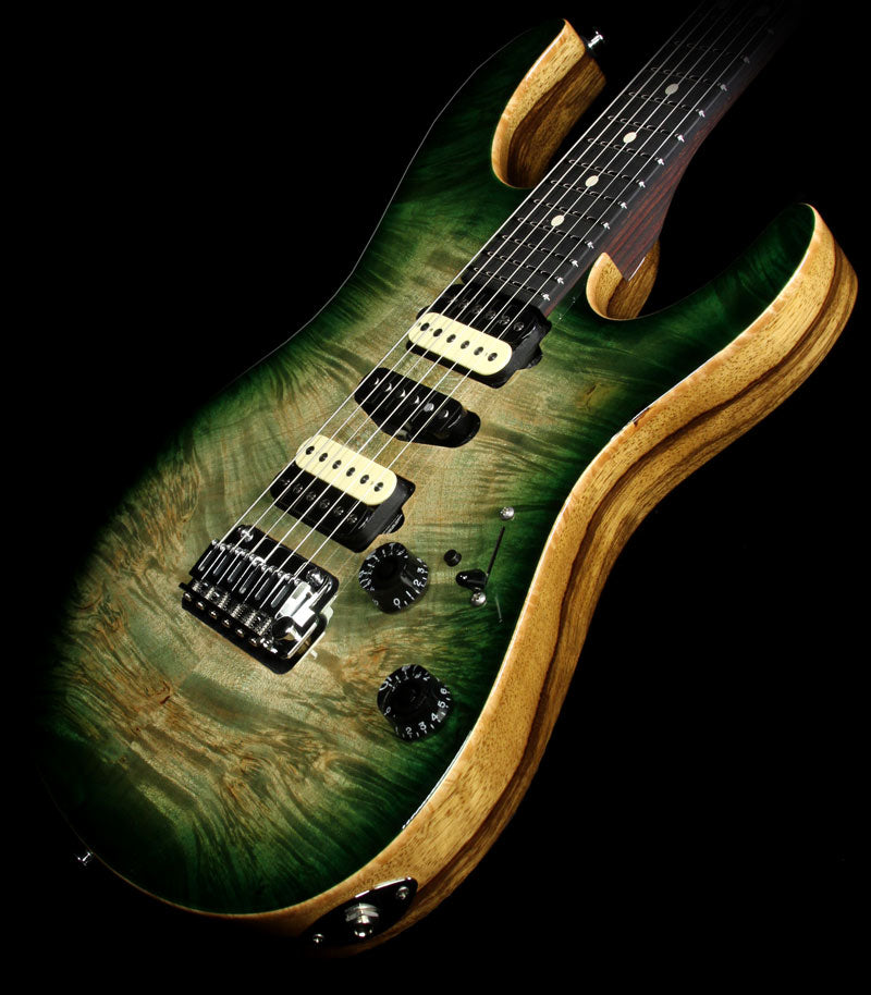 Suhr Modern Waterfall Burl Electric Guitar Faded Green Burst