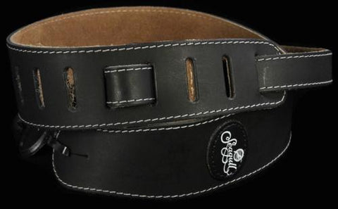 Seagull Stitched Leather and Suede Guitar Strap With Logo Black