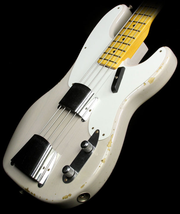 Used Fender Custom Shop Limited Edition Relic 1955 Precision Bass Electric Bass Guitar Dirty White Blonde CZ523950