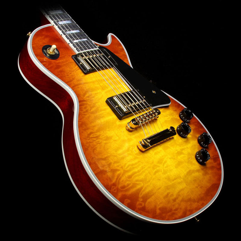 Used 2015 Gibson Custom Shop Les Paul Custom Quilt Top Electric Guitar Honey Burst