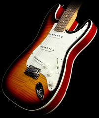 Used 2014 Fender Custom Shop Double Bound Slab Body Stratocaster Electric Guitar Three-Tone Sunburst