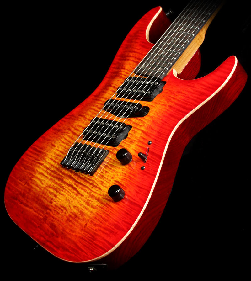 Lipe Virtuoso 7 Fanned Fret Curly Maple Seven String Electric Guitar Fireburst