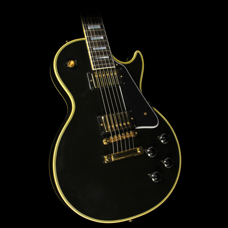 Used 2015 Gibson Custom Shop True Historic 1957 Les Paul Custom Reissue Electric Guitar Ebony 75202