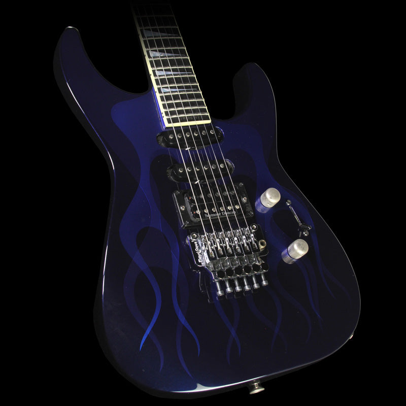 Used 1998 Jackson Custom Shop SHS1 Shannon Soloist Electric Guitar Blue Ghost Flames