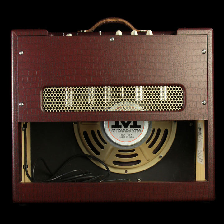 Magnatone Varsity 12 Cathedral Electric Guitar Amplifier Burgundy Crocodile