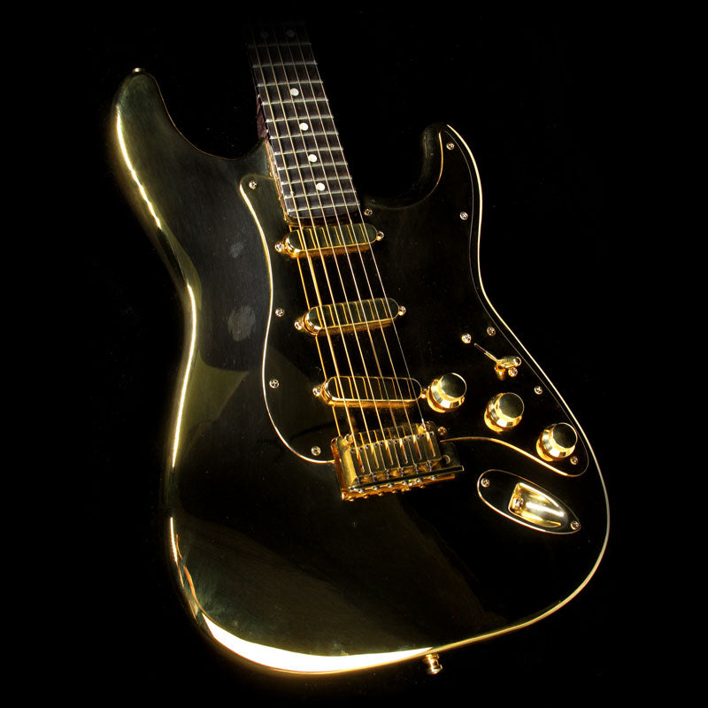 used 1997 fender aluminum stratocaster electric guitar gold plated the music zoo. Black Bedroom Furniture Sets. Home Design Ideas