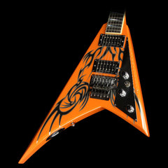 Used Jackson Custom Shop King V Electric Guitar Orange Tribal