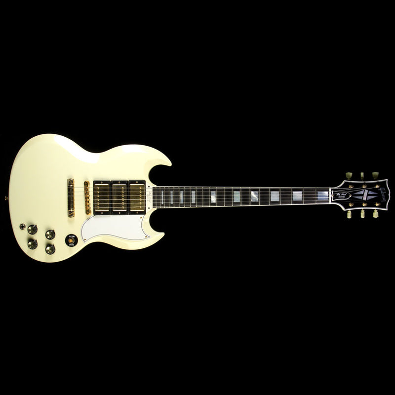 Used 2010 Gibson Custom Shop SG Custom 3-Pickup VOS Electric Guitar Classic White 10351