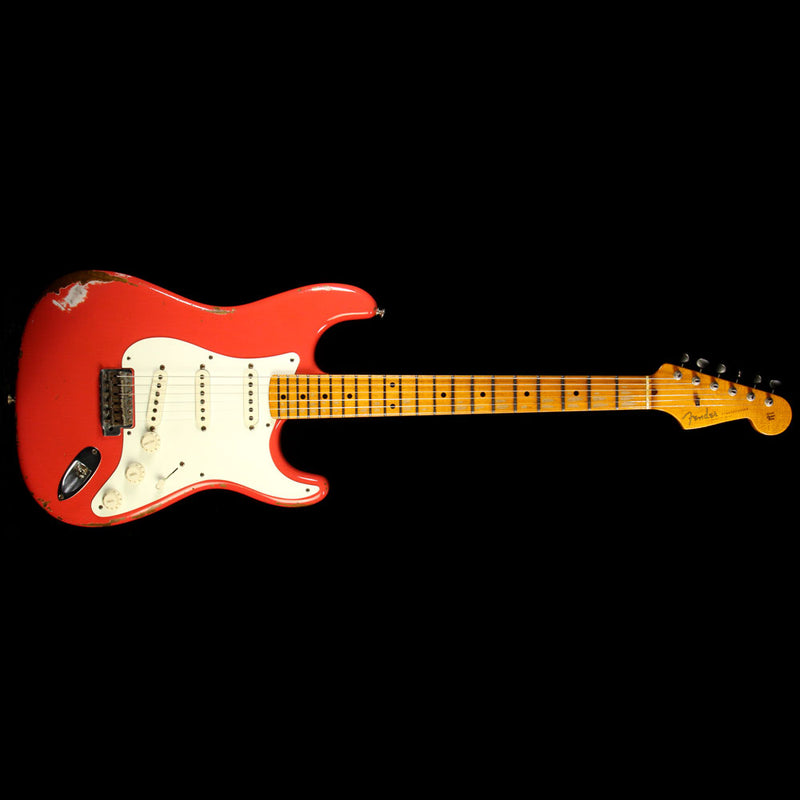 Used 2015 Fender Custom Shop '59 Roasted Ash Stratocaster Heavy Relic Electric Guitar Fiesta Red R82792