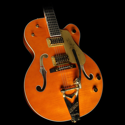 Used 2009 Gretsch G6120TM Chet Atkins Tiger Maple Electric Guitar Orange