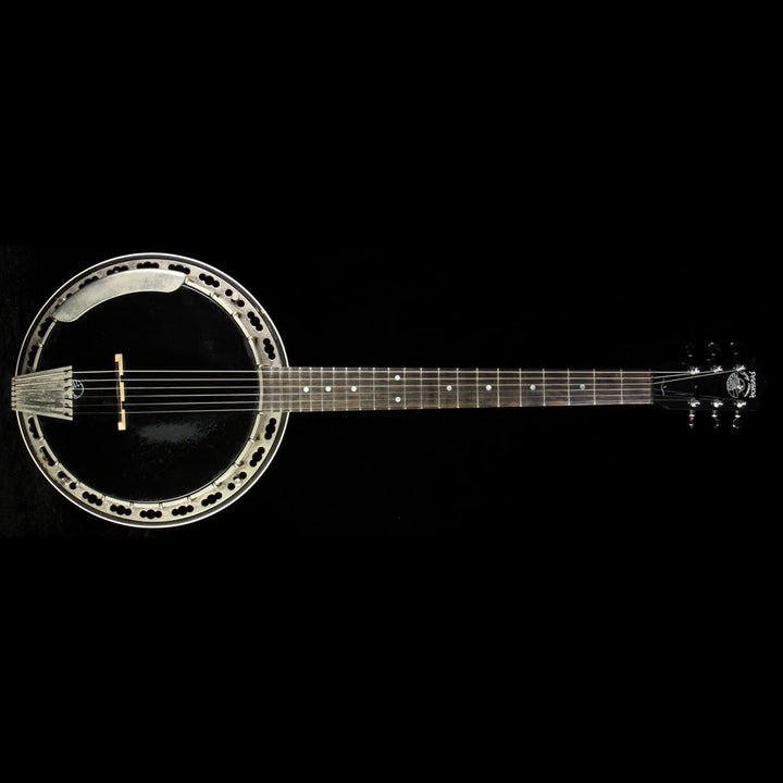 Used Deering 6 String Banjo Black Skin Natural Back 6347