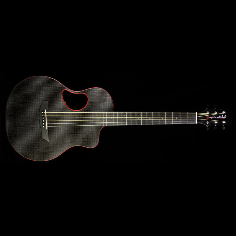 Used 2016 Kevin Michael Touring Carbon Fiber Acoustic Guitar Red Binding CT638RB