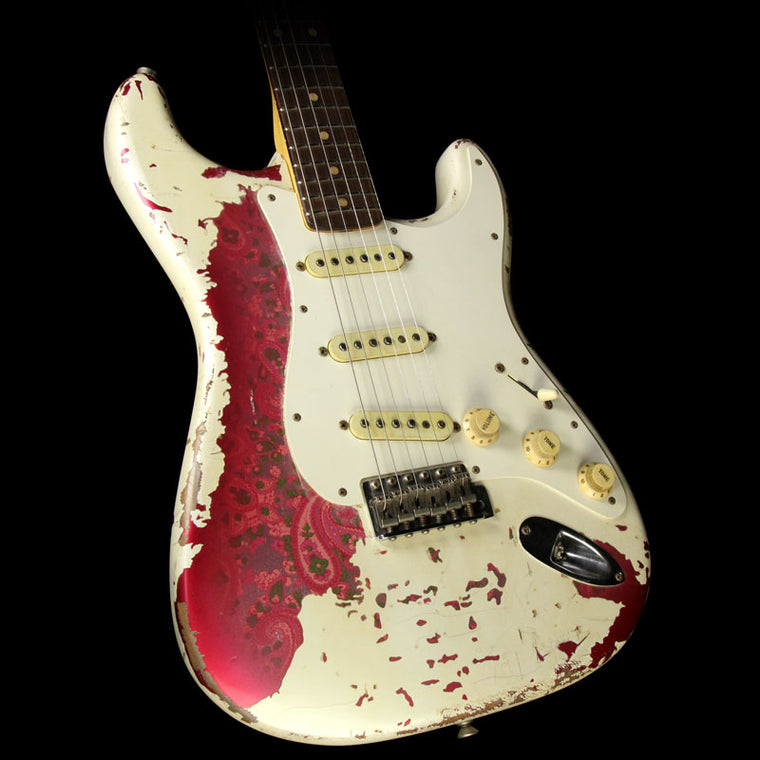Used 2015 Fender Custom '60 Stratocaster Heavy Relic Electric Guitar Olympic White over Paisley