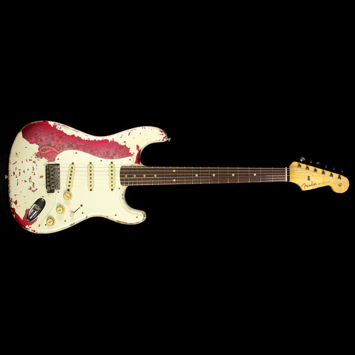 Used 2015 Fender Custom '60 Stratocaster Heavy Relic Electric Guitar Olympic White over Paisley R80415