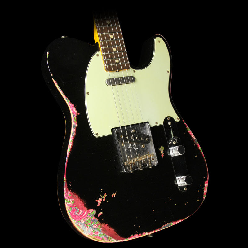 Used 2016 Fender Custom Shop '60s Telecaster Heavy Relic Electric Guitar Black over Paisley R86465