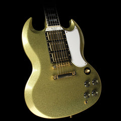 Used 2008 Gibson Custom Shop SG Custom Electric Guitar Gold Sparkle