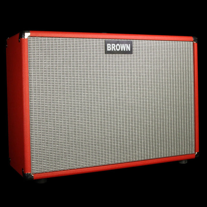 Used Brown Amplification 2x12 Guitar Cabinet Open Back Red Tolex