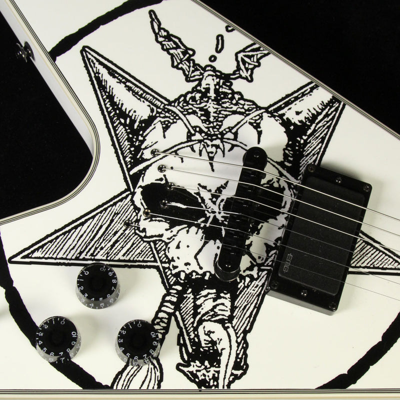 Used 2015 Dean Eric Peterson Old Skull V Electric Guitar Black White Skull Graphic WK16060109